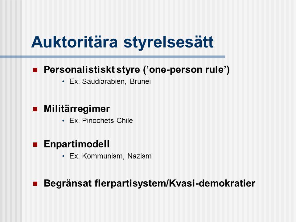 Auktoritära styrelsesätt  Personalistiskt styre ('one-person rule') •Ex.