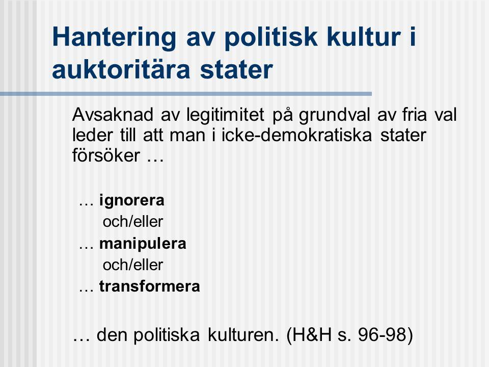 Hantering av politisk kultur i auktoritära stater Avsaknad av legitimitet på grundval av fria val leder till att man i icke-demokratiska stater försöker … … ignorera och/eller … manipulera och/eller … transformera … den politiska kulturen.