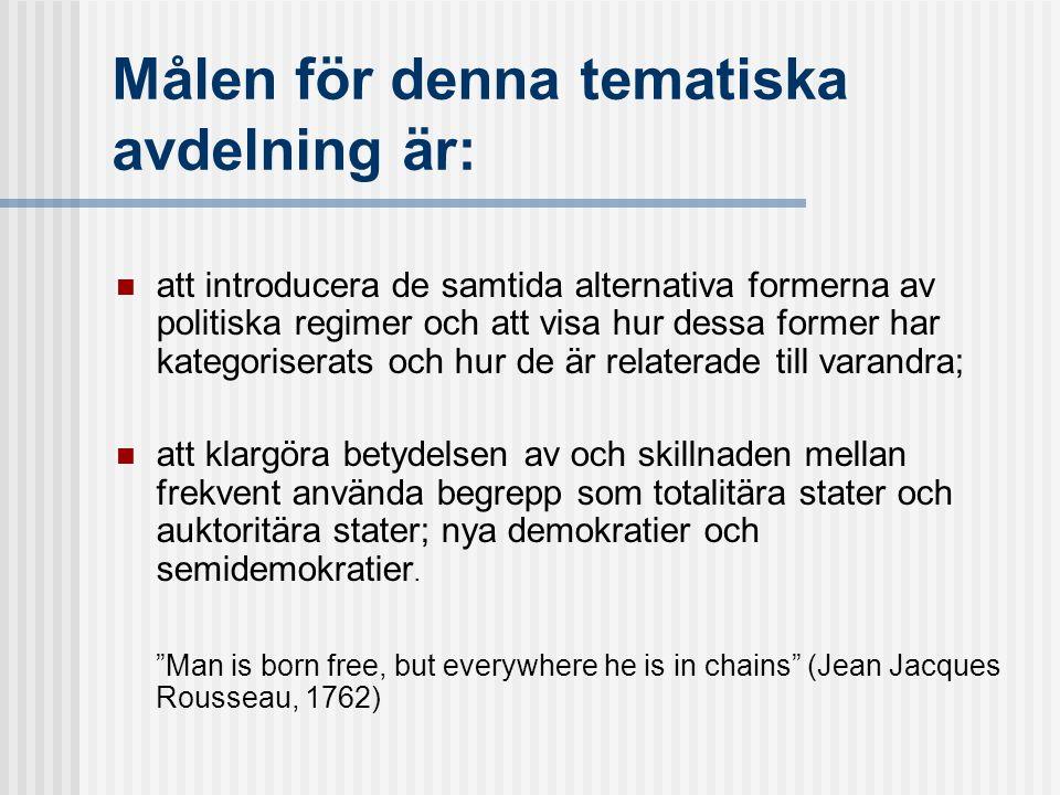 Definition av och diskussion kring 'regimbegreppet'  Aristoteles  Antal styrande  Styrandets mål  Montesquieu  Antal styrande  Det genom lagar reglerade maktutövandet