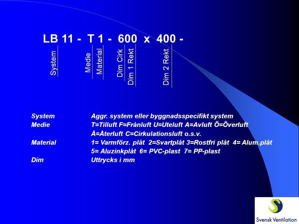 LB 11 - T 1 - System Medie Material SystemAggr. system eller byggnadsspecifikt system MedieT=Tilluft F=Frånluft U=Uteluft A=Avluft Ö=Överluft Å=Återlu