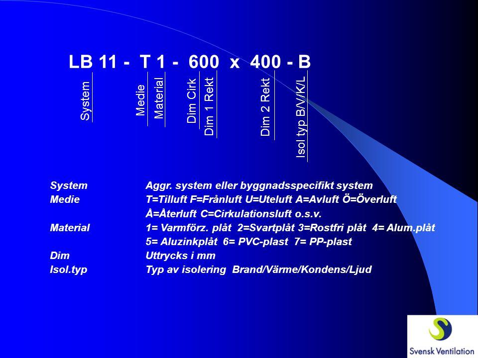LB 11 - T 1 - 600 x 400 - System Medie Material Dim Cirk Dim 1 Rekt Dim 2 Rekt SystemAggr. system eller byggnadsspecifikt system MedieT=Tilluft F=Från