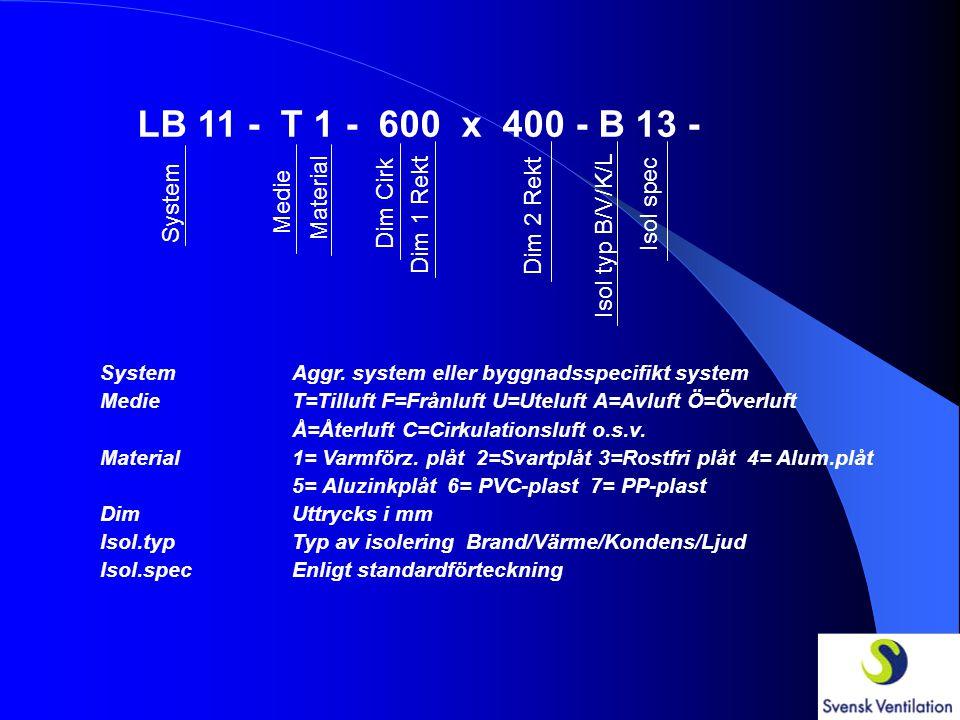 LB 11 - T 1 - 600 x 400 - B 13 - System Medie Material Dim Cirk Dim 1 Rekt Dim 2 Rekt Isol typ B/V/K/L Isol spec SystemAggr.