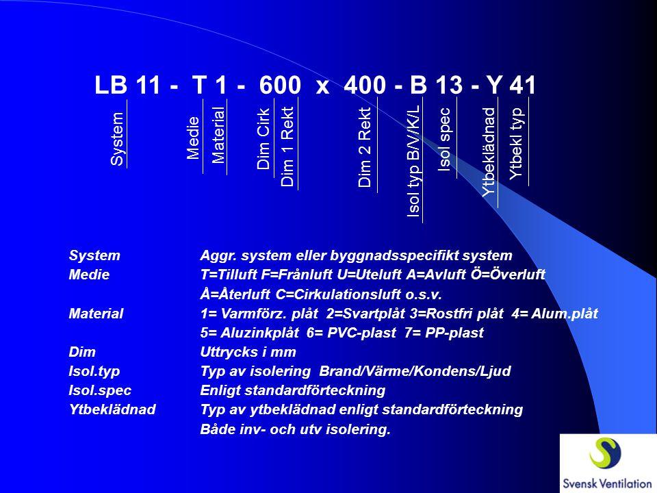 LB 11 - T 1 - 600 x 400 - B 13 - Y 41 System Medie Material Dim Cirk Dim 1 Rekt Dim 2 Rekt Isol typ B/V/K/L Isol spec Ytbeklädnad Ytbekl typ SystemAggr.
