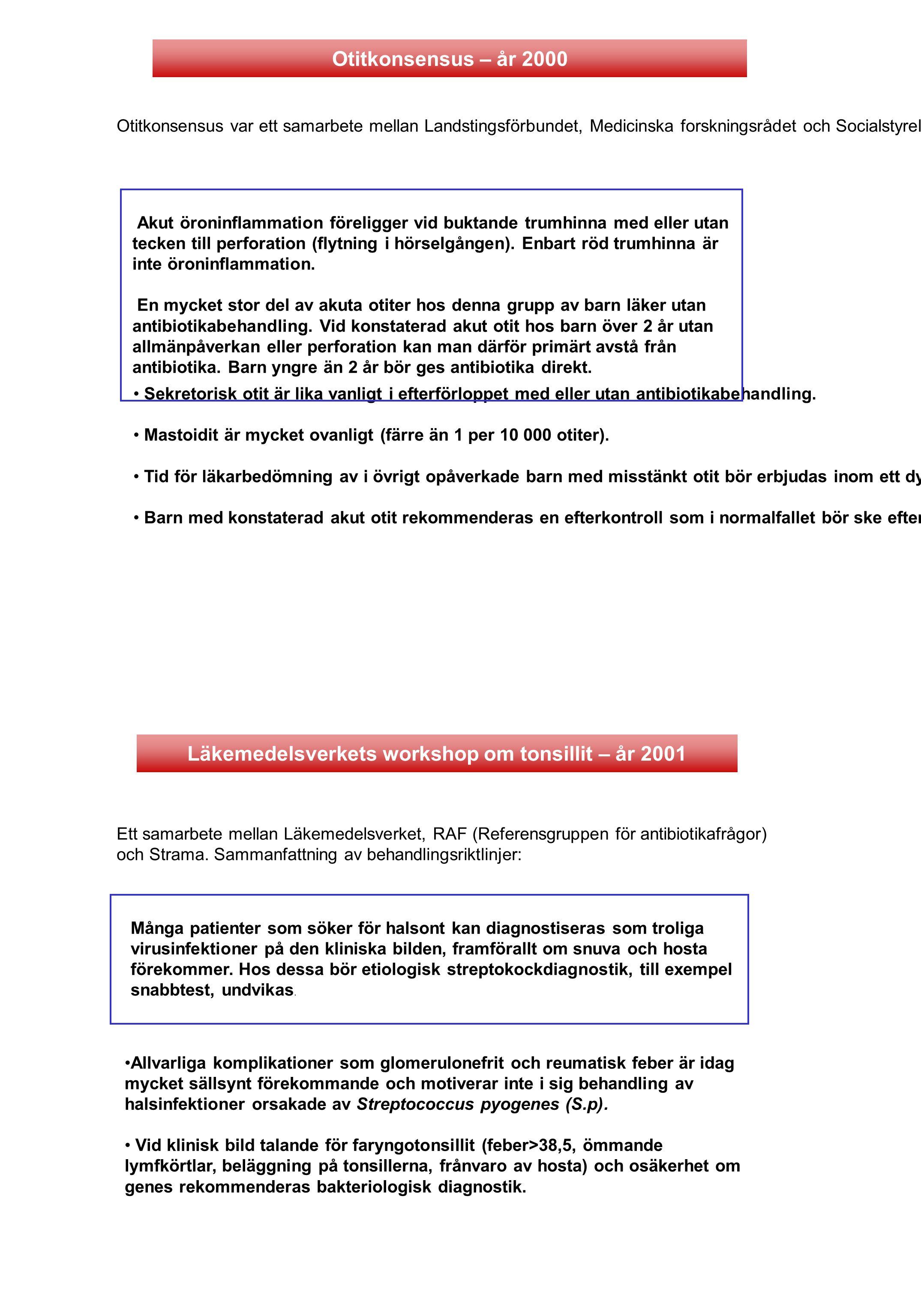 Otitkonsensus var ett samarbete mellan Landstingsförbundet, Medicinska forskningsrådet och Socialstyrelsen kring behandling av akut otit hos barn yngr