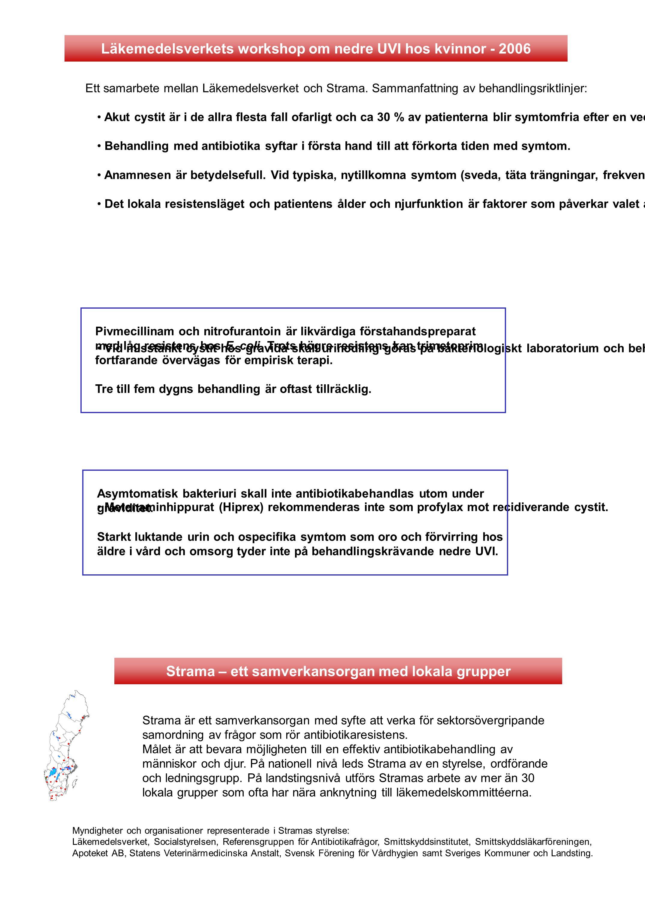 Läkemedelsverkets workshop om nedre UVI hos kvinnor - 2006 Ett samarbete mellan Läkemedelsverket och Strama. Sammanfattning av behandlingsriktlinjer: