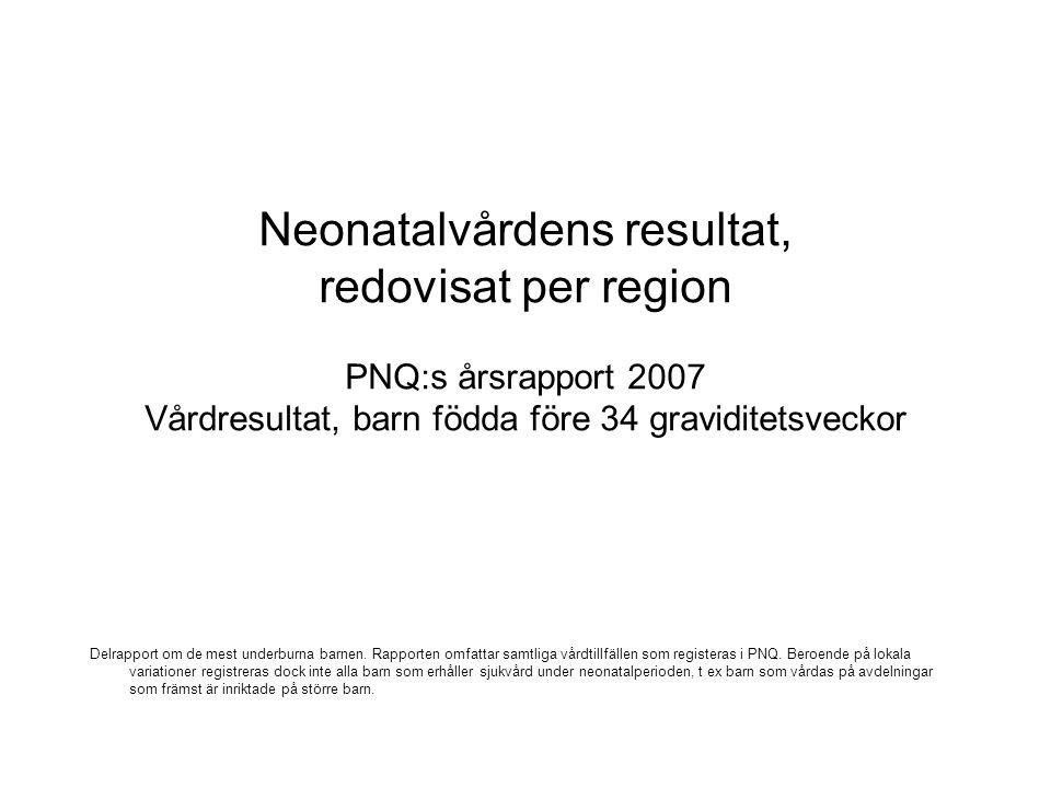 Neonatalvårdens resultat, redovisat per region PNQ:s årsrapport 2007 Vårdresultat, barn födda före 34 graviditetsveckor Delrapport om de mest underburna barnen.