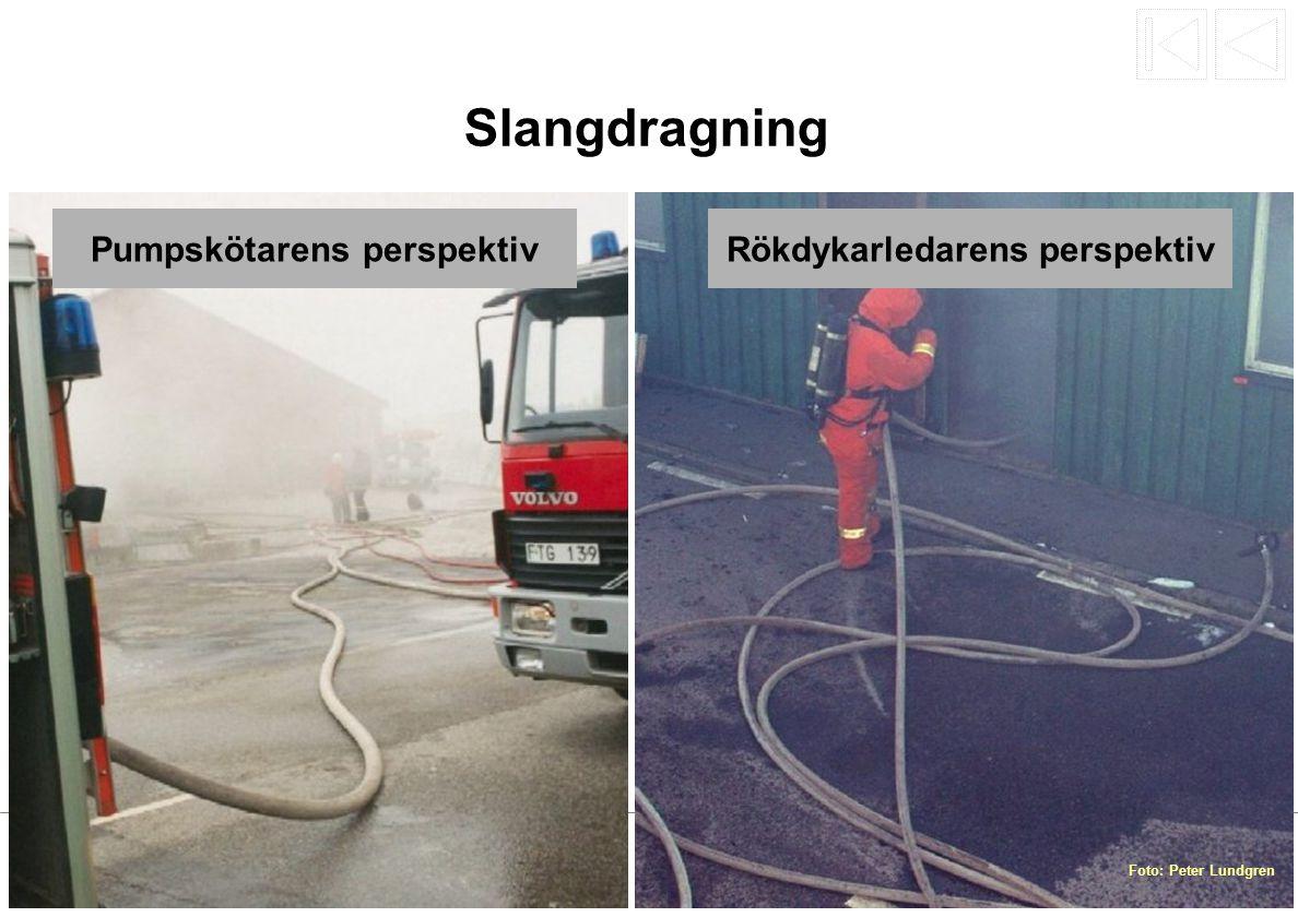 Slangdragning Pumpskötarens perspektivRökdykarledarens perspektiv Foto: Peter Lundgren