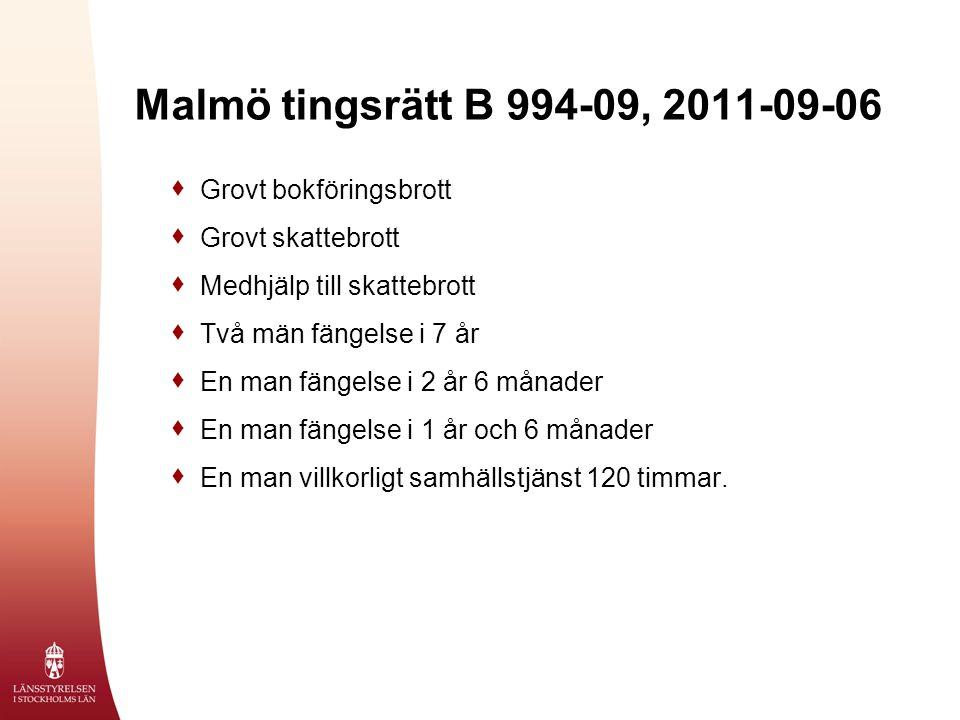 Malmö tingsrätt B 994-09, 2011-09-06  Grovt bokföringsbrott  Grovt skattebrott  Medhjälp till skattebrott  Två män fängelse i 7 år  En man fängelse i 2 år 6 månader  En man fängelse i 1 år och 6 månader  En man villkorligt samhällstjänst 120 timmar.