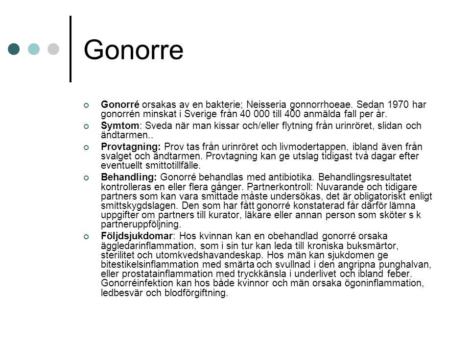 Gonorre Gonorré orsakas av en bakterie; Neisseria gonnorrhoeae. Sedan 1970 har gonorrén minskat i Sverige från 40 000 till 400 anmälda fall per år. Sy