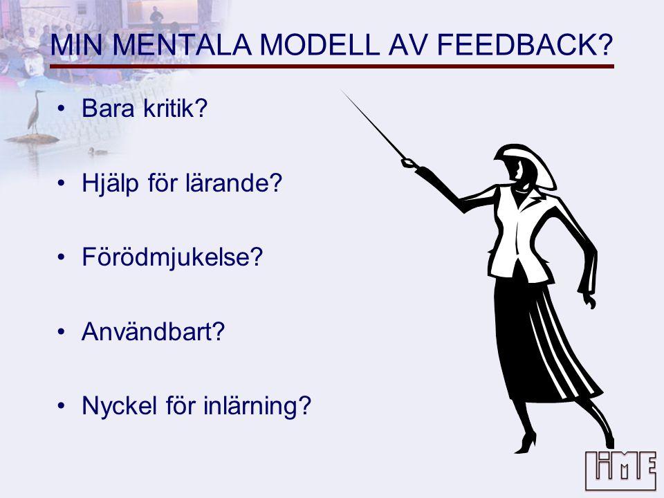 MIN MENTALA MODELL AV FEEDBACK.•Bara kritik. •Hjälp för lärande.