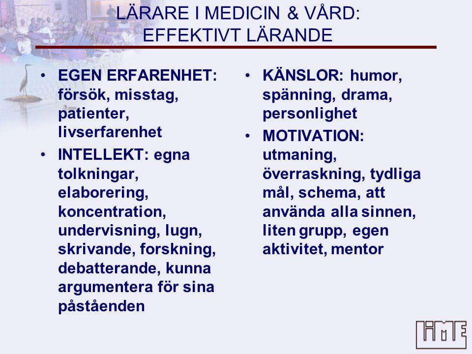LÄRARE I MEDICIN & VÅRD: EFFEKTIVT LÄRANDE •EGEN ERFARENHET: försök, misstag, patienter, livserfarenhet •INTELLEKT: egna tolkningar, elaborering, koncentration, undervisning, lugn, skrivande, forskning, debatterande, kunna argumentera för sina påståenden •KÄNSLOR: humor, spänning, drama, personlighet •MOTIVATION: utmaning, överraskning, tydliga mål, schema, att använda alla sinnen, liten grupp, egen aktivitet, mentor