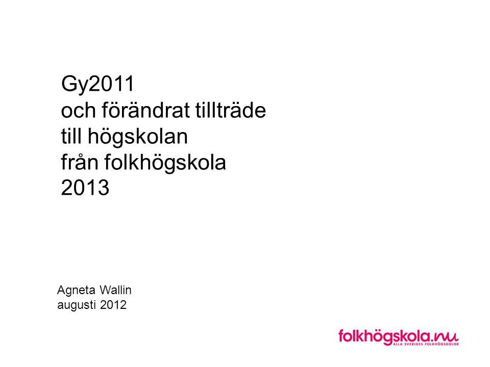 Gy2011 och förändrat tillträde till högskolan från folkhögskola 2013 Agneta Wallin augusti 2012