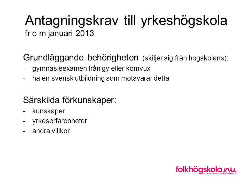 Antagningskrav till yrkeshögskola fr o m januari 2013 Grundläggande behörigheten (skiljer sig från högskolans): -gymnasieexamen från gy eller komvux -