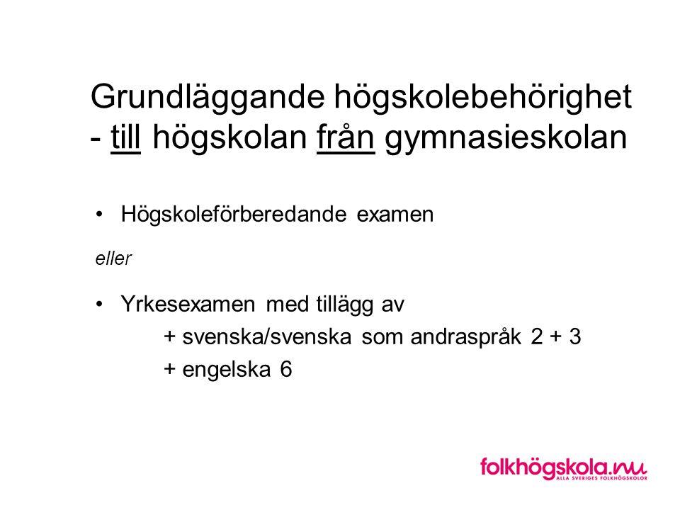 Grundläggande högskolebehörighet - till högskolan från gymnasieskolan •Högskoleförberedande examen eller •Yrkesexamen med tillägg av + svenska/svenska