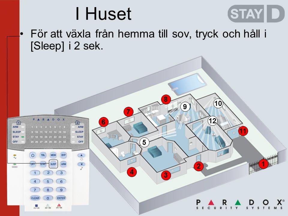 2 3 4 6 7 8 1 11 I Huset •För att växla från hemma till sov, tryck och håll i [Sleep] i 2 sek.