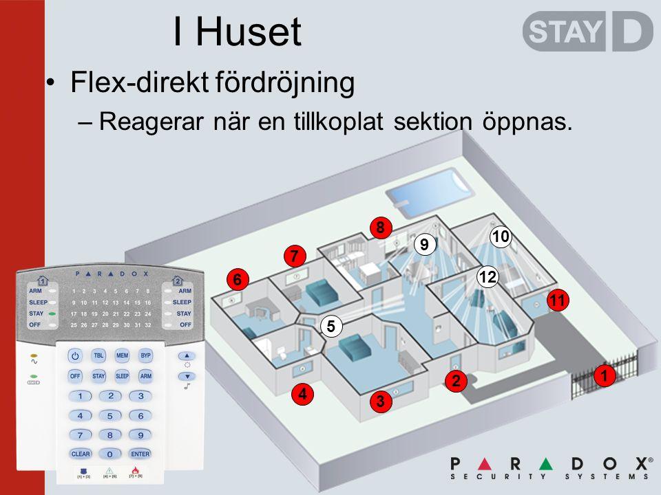 2 3 4 6 7 8 1 11 I Huset •Flex-direkt fördröjning –Reagerar när en tillkoplat sektion öppnas.