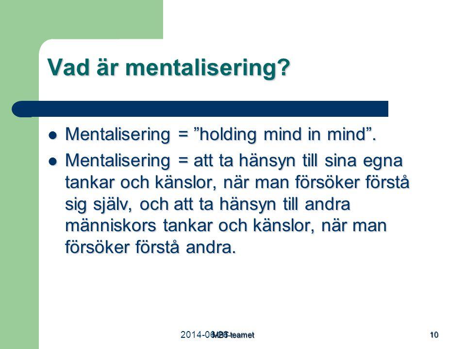 """MBT-teamet 10 Vad är mentalisering?  Mentalisering = """"holding mind in mind"""".  Mentalisering = att ta hänsyn till sina egna tankar och känslor, när m"""
