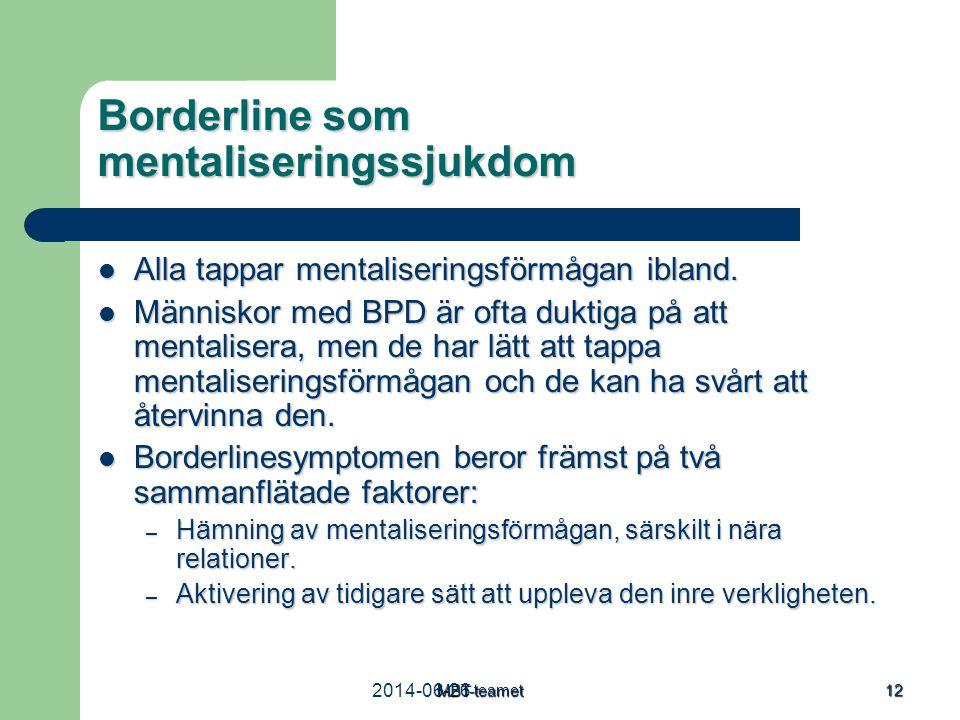 2014-06-26MBT-teamet 12 Borderline som mentaliseringssjukdom  Alla tappar mentaliseringsförmågan ibland.  Människor med BPD är ofta duktiga på att m