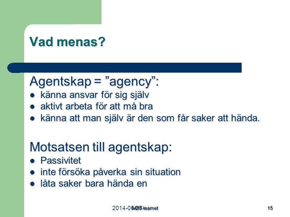 """MBT-teamet 15 Vad menas? Agentskap = """"agency"""":  känna ansvar för sig själv  aktivt arbeta för att må bra  känna att man själv är den som får saker"""