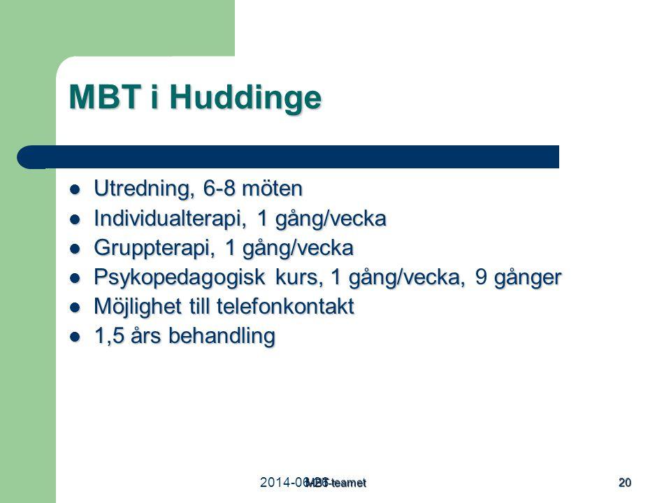 2014-06-26MBT-teamet 20 MBT i Huddinge  Utredning, 6-8 möten  Individualterapi, 1 gång/vecka  Gruppterapi, 1 gång/vecka  Psykopedagogisk kurs, 1 g