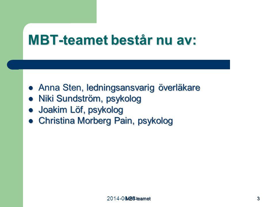 2014-06-26MBT-teamet 3 MBT-teamet består nu av:  Anna Sten, ledningsansvarig överläkare  Niki Sundström, psykolog  Joakim Löf, psykolog  Christina
