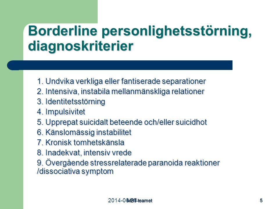 2014-06-26MBT-teamet 5 Borderline personlighetsstörning, diagnoskriterier 1. Undvika verkliga eller fantiserade separationer 2. Intensiva, instabila m