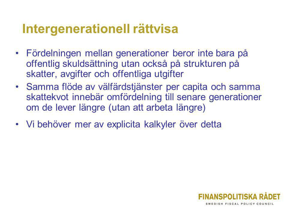 Intergenerationell rättvisa •Fördelningen mellan generationer beror inte bara på offentlig skuldsättning utan också på strukturen på skatter, avgifter och offentliga utgifter •Samma flöde av välfärdstjänster per capita och samma skattekvot innebär omfördelning till senare generationer om de lever längre (utan att arbeta längre) •Vi behöver mer av explicita kalkyler över detta