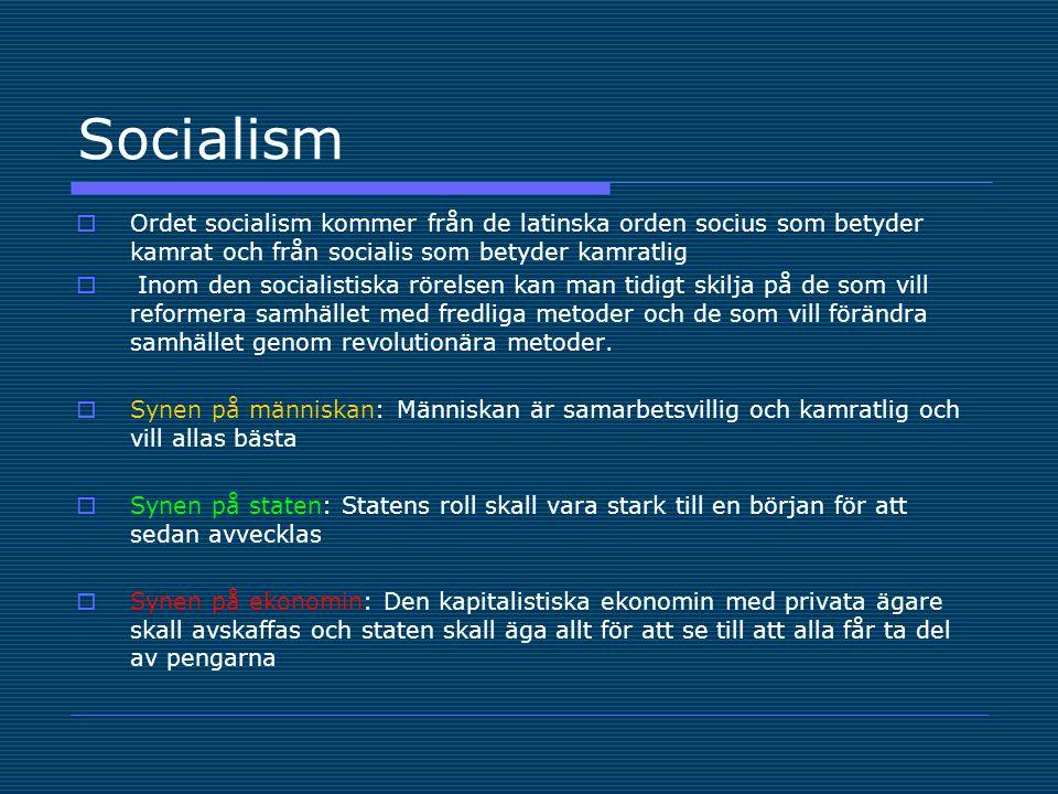 Socialism  Ordet socialism kommer från de latinska orden socius som betyder kamrat och från socialis som betyder kamratlig  Inom den socialistiska rörelsen kan man tidigt skilja på de som vill reformera samhället med fredliga metoder och de som vill förändra samhället genom revolutionära metoder.