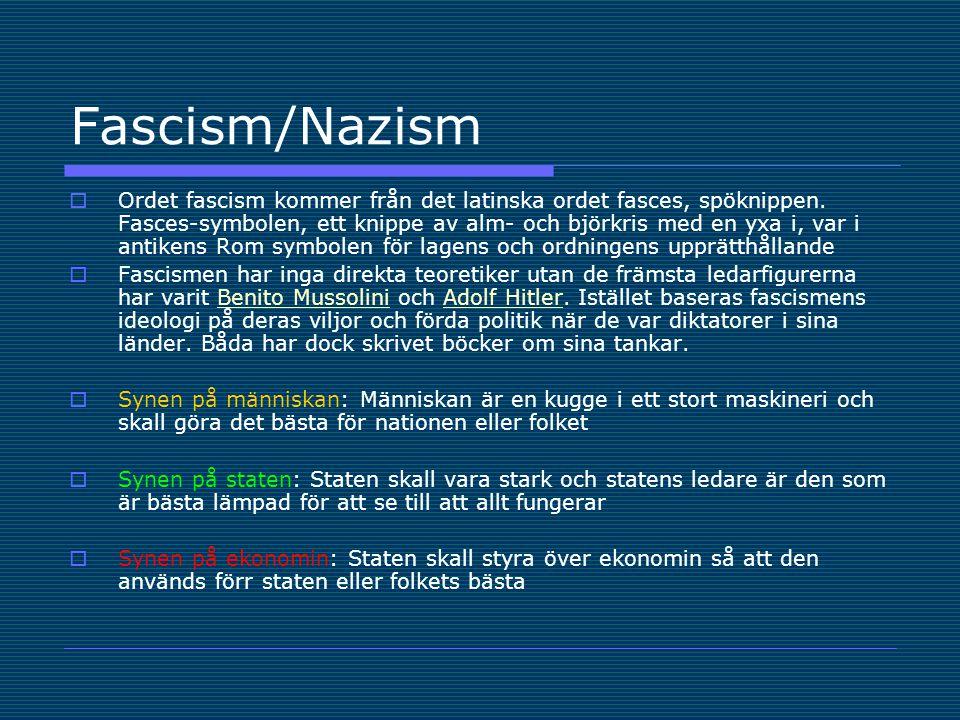 Fascism/Nazism  Ordet fascism kommer från det latinska ordet fasces, spöknippen.