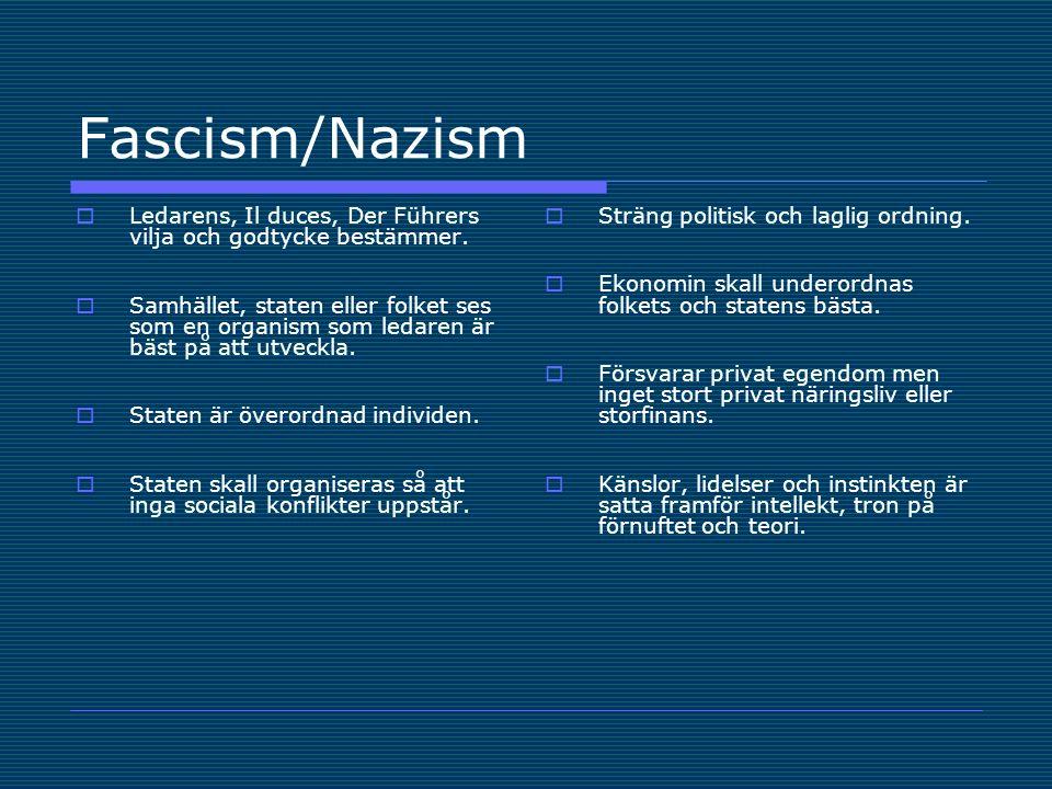Fascism/Nazism  Ledarens, Il duces, Der Führers vilja och godtycke bestämmer.