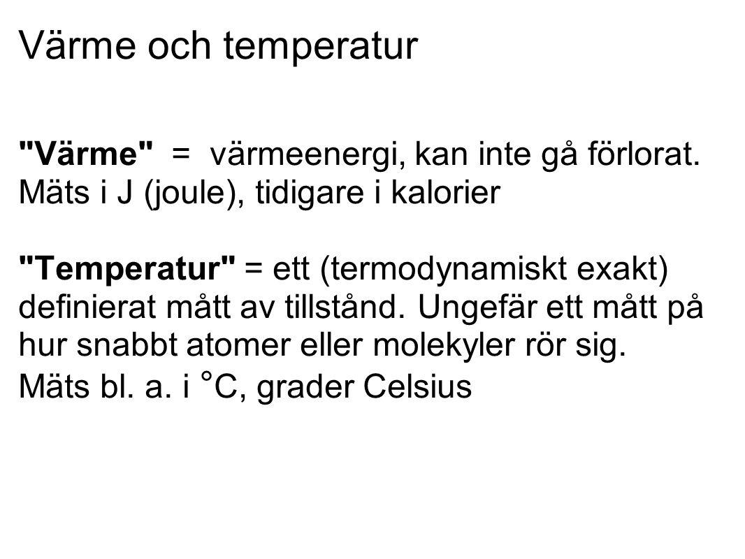 Värme och temperatur Värme = värmeenergi, kan inte gå förlorat.