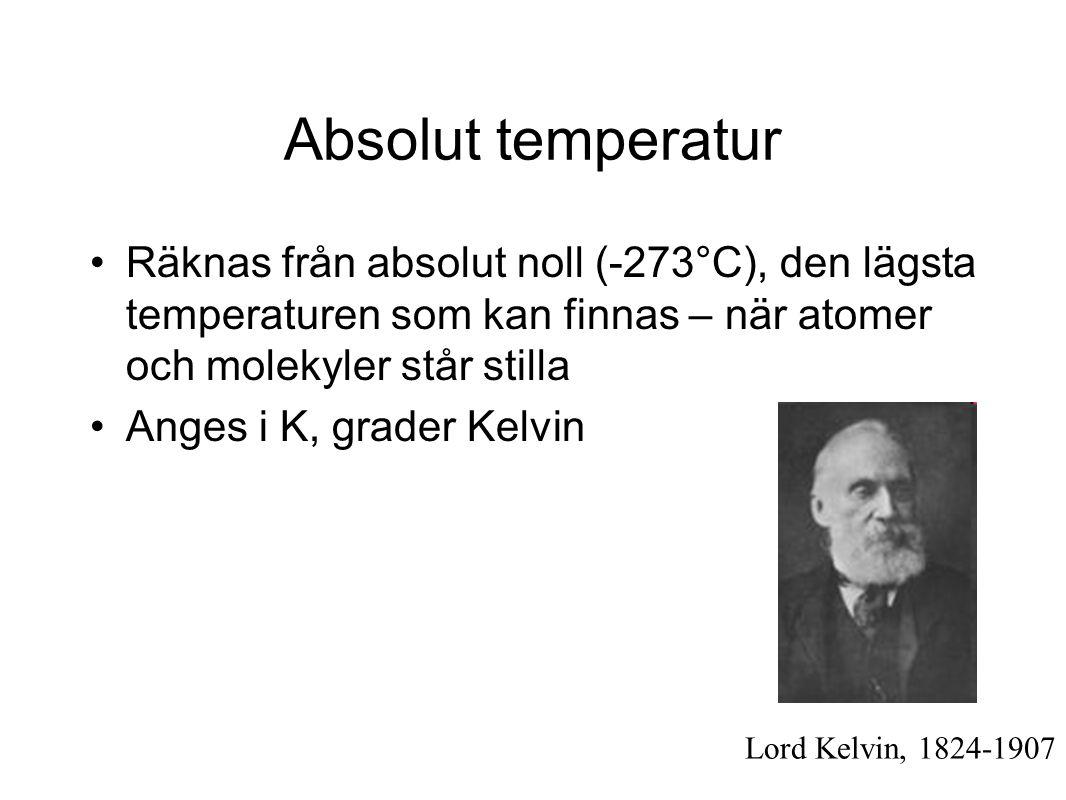 Absolut temperatur •Räknas från absolut noll (-273°C), den lägsta temperaturen som kan finnas – när atomer och molekyler står stilla •Anges i K, grader Kelvin Lord Kelvin, 1824-1907