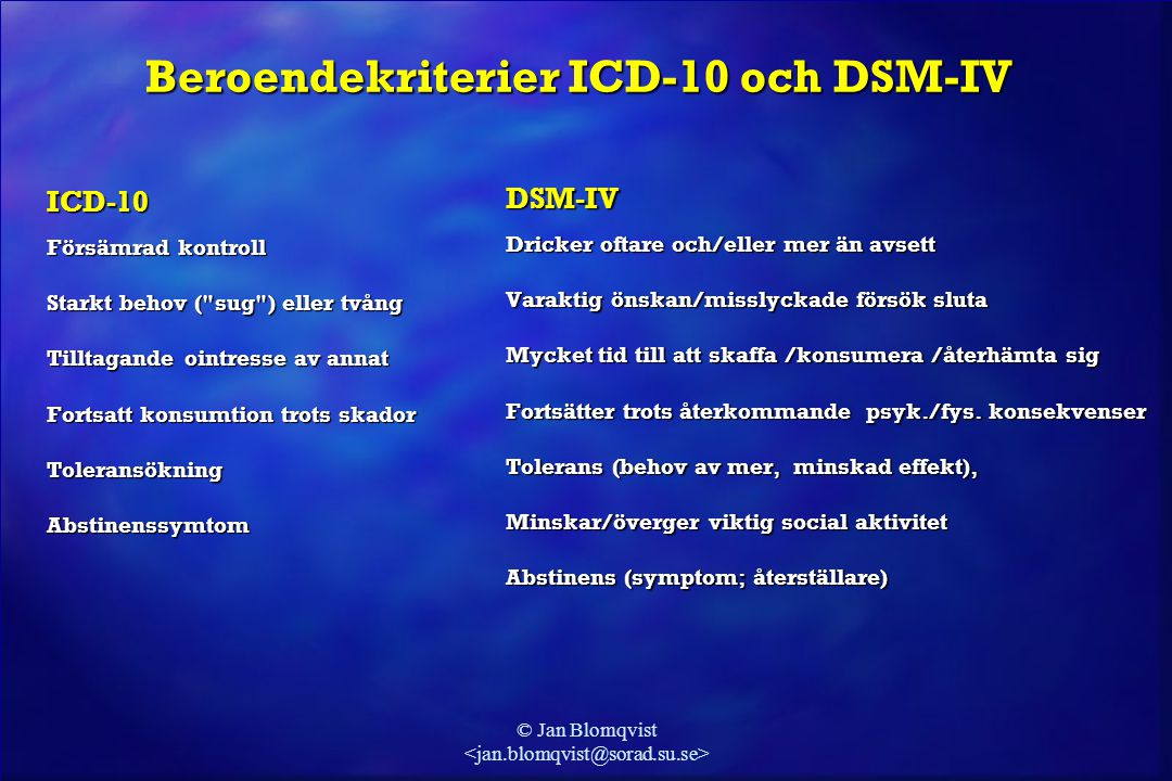 © Jan Blomqvist Beroendekriterier ICD-10 och DSM-IV ICD-10 Försämrad kontroll Starkt behov (