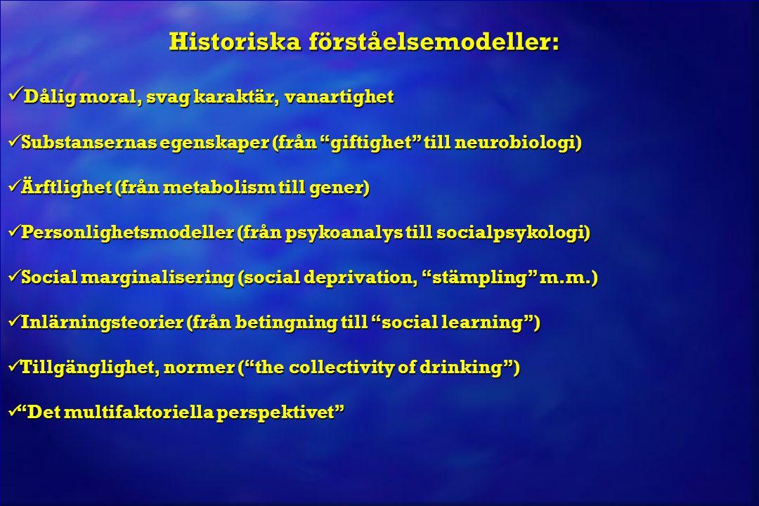 """Historiska förståelsemodeller:  Dålig moral, svag karaktär, vanartighet  Substansernas egenskaper (från """"giftighet"""" till neurobiologi)  Ärftlighet"""