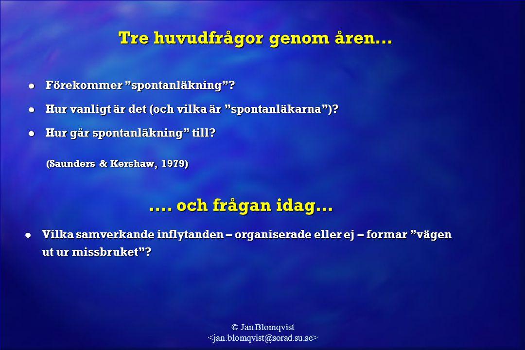 """© Jan Blomqvist Tre huvudfrågor genom åren… l Förekommer """"spontanläkning""""? l Hur vanligt är det (och vilka är """"spontanläkarna"""")? l Hur går spontanläkn"""