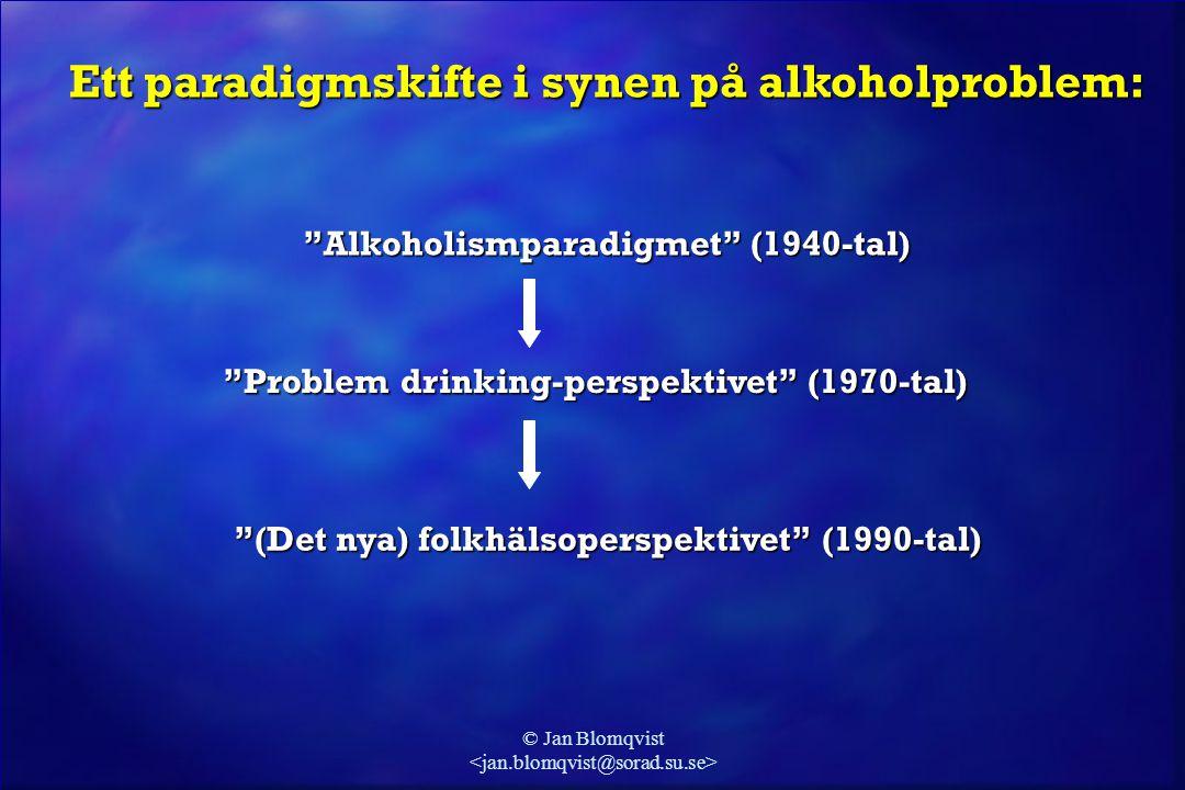 """© Jan Blomqvist Ett paradigmskifte i synen på alkoholproblem: """"Alkoholismparadigmet"""" (1940-tal) """"Problem drinking-perspektivet"""" (1970-tal) """"(Det nya)"""