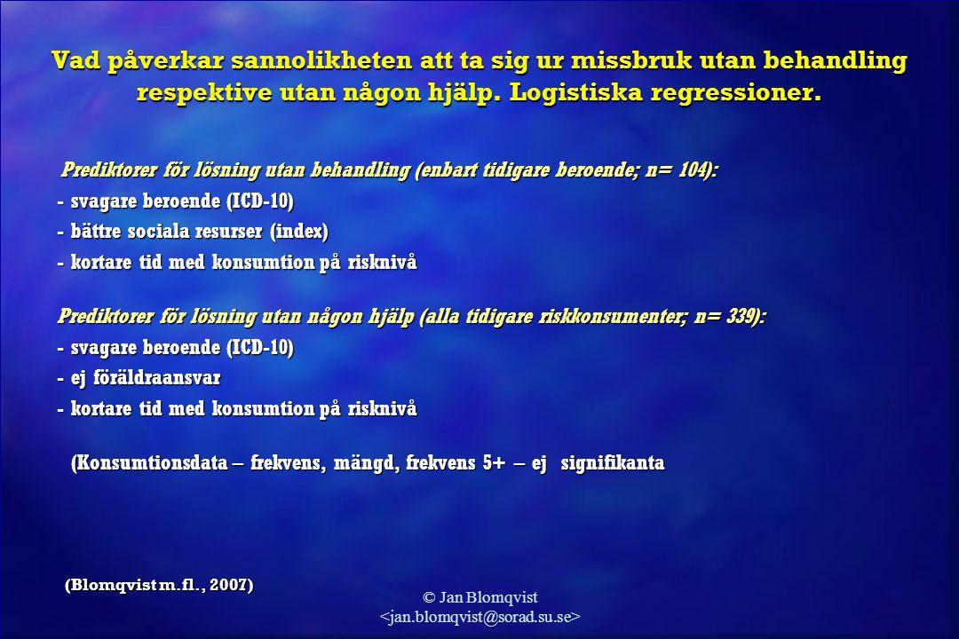© Jan Blomqvist Vad påverkar sannolikheten att ta sig ur missbruk utan behandling respektive utan någon hjälp. Logistiska regressioner. Prediktorer fö