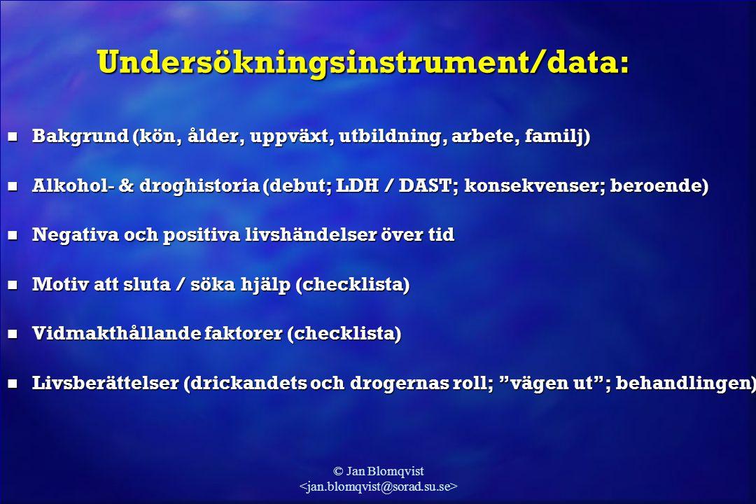 Undersökningsinstrument/data: n Bakgrund (kön, ålder, uppväxt, utbildning, arbete, familj) n Alkohol- & droghistoria (debut; LDH / DAST; konsekvenser;