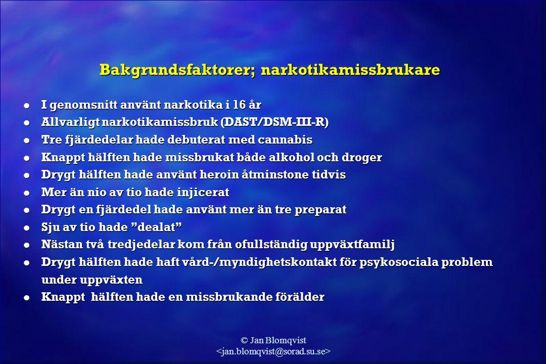 © Jan Blomqvist Bakgrundsfaktorer; narkotikamissbrukare l I genomsnitt använt narkotika i 16 år l Allvarligt narkotikamissbruk (DAST/DSM-III-R) l Tre