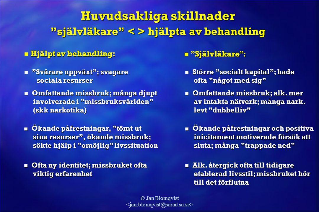 """© Jan Blomqvist Huvudsakliga skillnader """"självläkare"""" hjälpta av behandling Hjälpt av behandling: n Hjälpt av behandling: """" Självläkare """":  """" Självlä"""