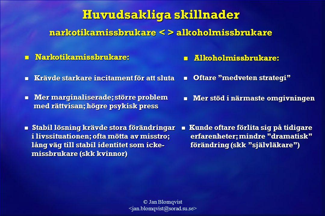 © Jan Blomqvist Huvudsakliga skillnader narkotikamissbrukare alkoholmissbrukare  Narkotikamissbrukare:  Alkoholmissbrukare:  Krävde starkare incita