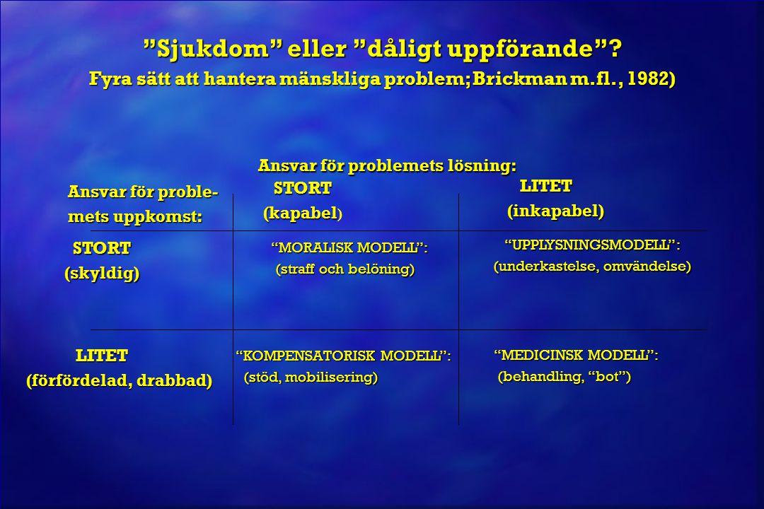 © Jan Blomqvist Ansvar för problemets lösning: Ansvar för problemets lösning: STORT STORT (kapabel (kapabel )  LITET (inkapabel) (inkapabel) Ansvar för proble- Ansvar för proble- mets uppkomst: mets uppkomst: STORT STORT (skyldig) (skyldig) MORALISK MODELL :  MORALISK MODELL : (straff och belöning) (straff och belöning) UPPLYSNINGSMODELL :  UPPLYSNINGSMODELL : (underkastelse, omvändelse) (underkastelse, omvändelse) LITET  LITET (förfördelad, drabbad) (förfördelad, drabbad) KOMPENSATORISK MODELL : KOMPENSATORISK MODELL : (stöd, mobilisering) (stöd, mobilisering) MEDICINSK MODELL : MEDICINSK MODELL : (behandling, bot ) (behandling, bot ) Synen på alkohol- och narkotikaproblem – utveckling över tid