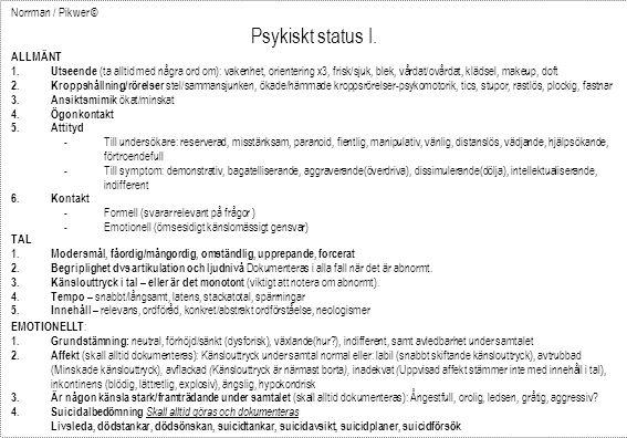 Norrman / Pikwer © Psykiskt status I. ALLMÄNT 1. Utseende (ta alltid med några ord om): vakenhet, orientering x3, frisk/sjuk, blek, vårdat/ovårdat, kl