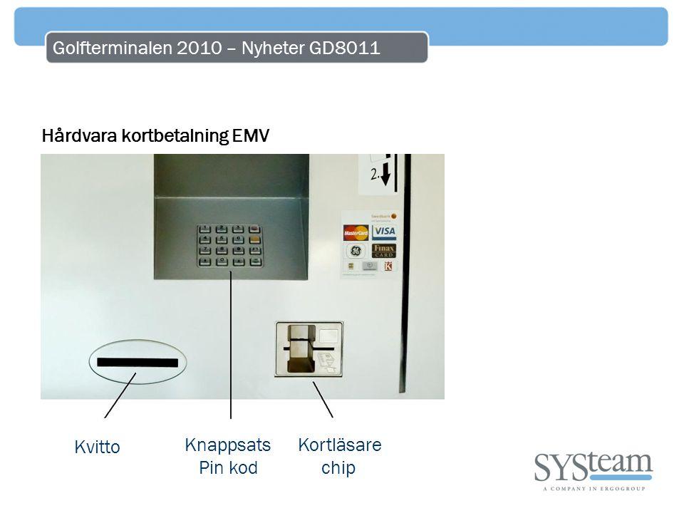 Golfterminalen 2010 – Nyheter GD8011 Hårdvara kortbetalning EMV Kvitto Knappsats Pin kod Kortläsare chip