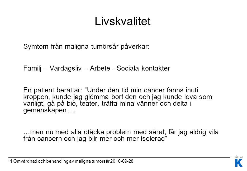 11 Omvårdnad och behandling av maligna tumörsår 2010-09-28 Livskvalitet Symtom från maligna tumörsår påverkar: Familj – Vardagsliv – Arbete - Sociala