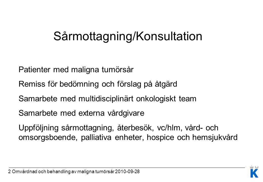 2 Omvårdnad och behandling av maligna tumörsår 2010-09-28 Sårmottagning/Konsultation Patienter med maligna tumörsår Remiss för bedömning och förslag p