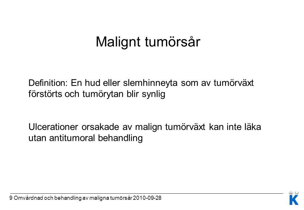 9 Omvårdnad och behandling av maligna tumörsår 2010-09-28 Malignt tumörsår Definition: En hud eller slemhinneyta som av tumörväxt förstörts och tumöry