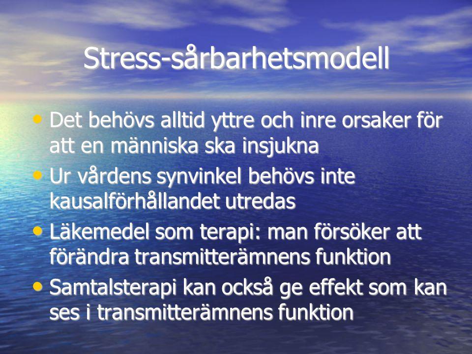 Stress-sårbarhetsmodell • Det behövs alltid yttre och inre orsaker för att en människa ska insjukna • Ur vårdens synvinkel behövs inte kausalförhållan
