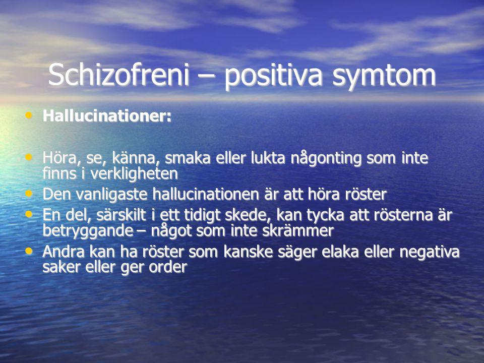 Schizofreni – positiva symtom • Hallucinationer: • Höra, se, känna, smaka eller lukta någonting som inte finns i verkligheten • Den vanligaste halluci