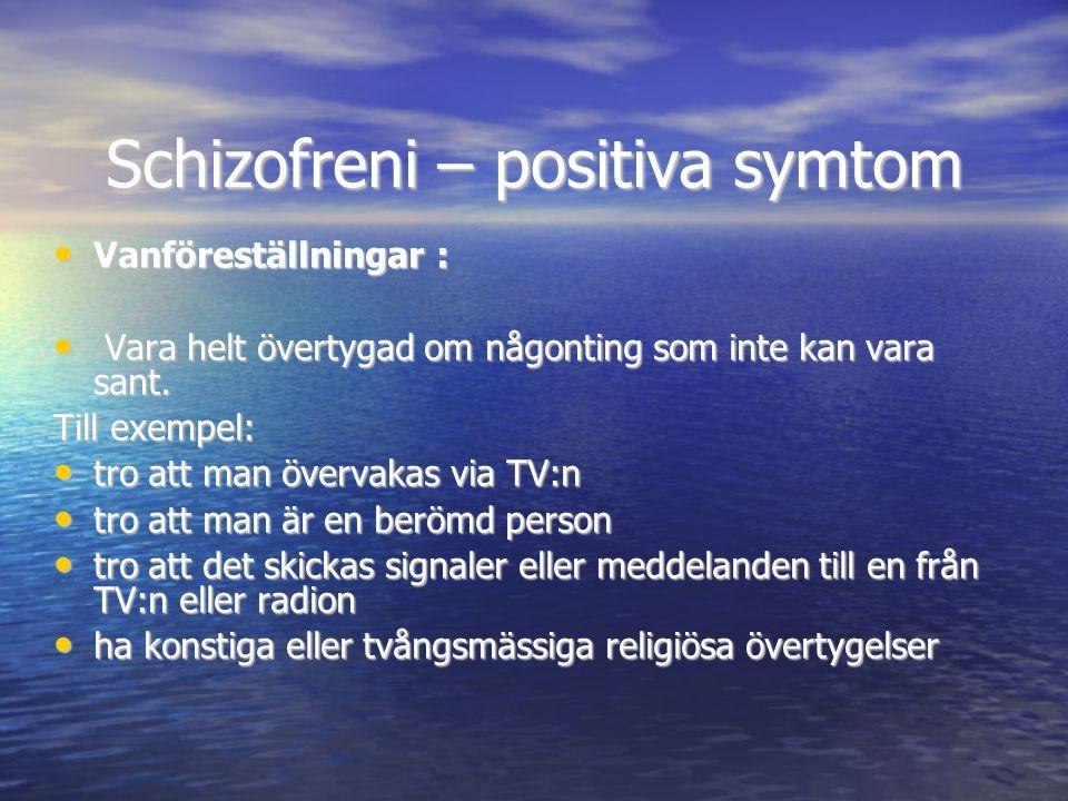 Schizofreni – positiva symtom • Vanföreställningar : • Vara helt övertygad om någonting som inte kan vara sant. Till exempel: • tro att man övervakas